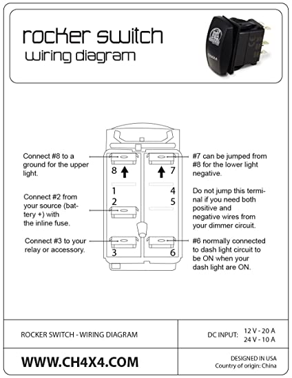 71EGyigaC8L._SY550_ amazon com ch4x4 rocker switch train horn symbol amber led 6 pole momentary rocker switch wiring diagram at readyjetset.co