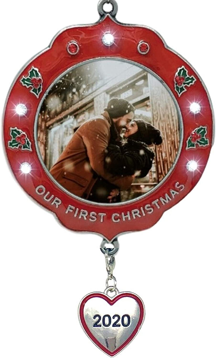 BANBERRY DESIGNS Our First Christmas Ornament Dated 2020 – Xmas Picture Frame Ornament – Couples 1st Christmas Together Photo Holder Ornament