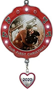 First Christmas Together 2020 Ornament Photo Frame Amazon.com: BANBERRY DESIGNS Our First Christmas Ornament Dated