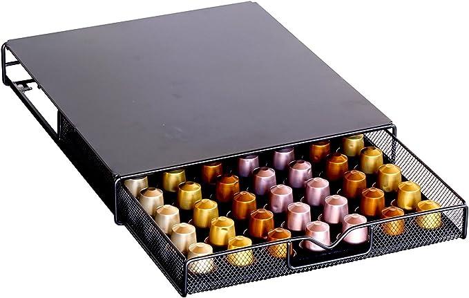 DecoBros Coffee Pod Storage Mesh Nespresso Drawer Holder for 56 Capsules, Black