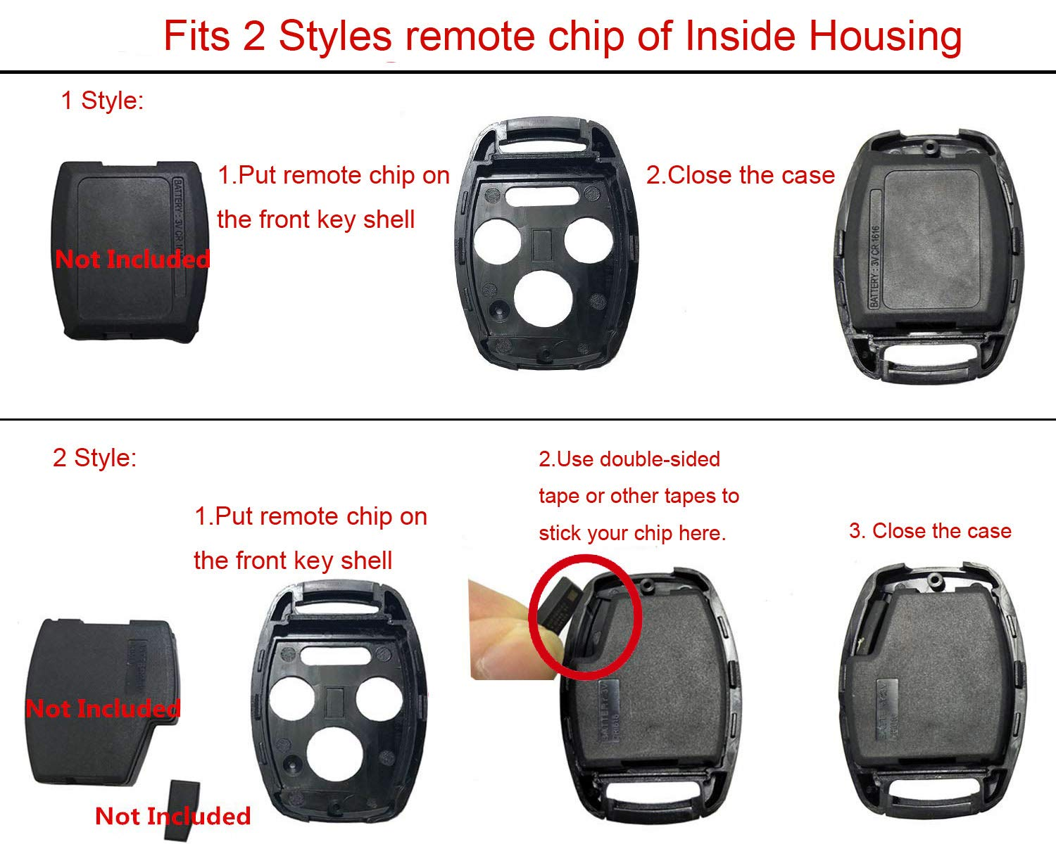 Key Fob Shell Case Fit for Honda Accord Crosstour Civic Odyssey CR-V CR-Z Fit Keyless Entry Remote Key Housing Replacement Without Blade 2 Buttons Casing Only