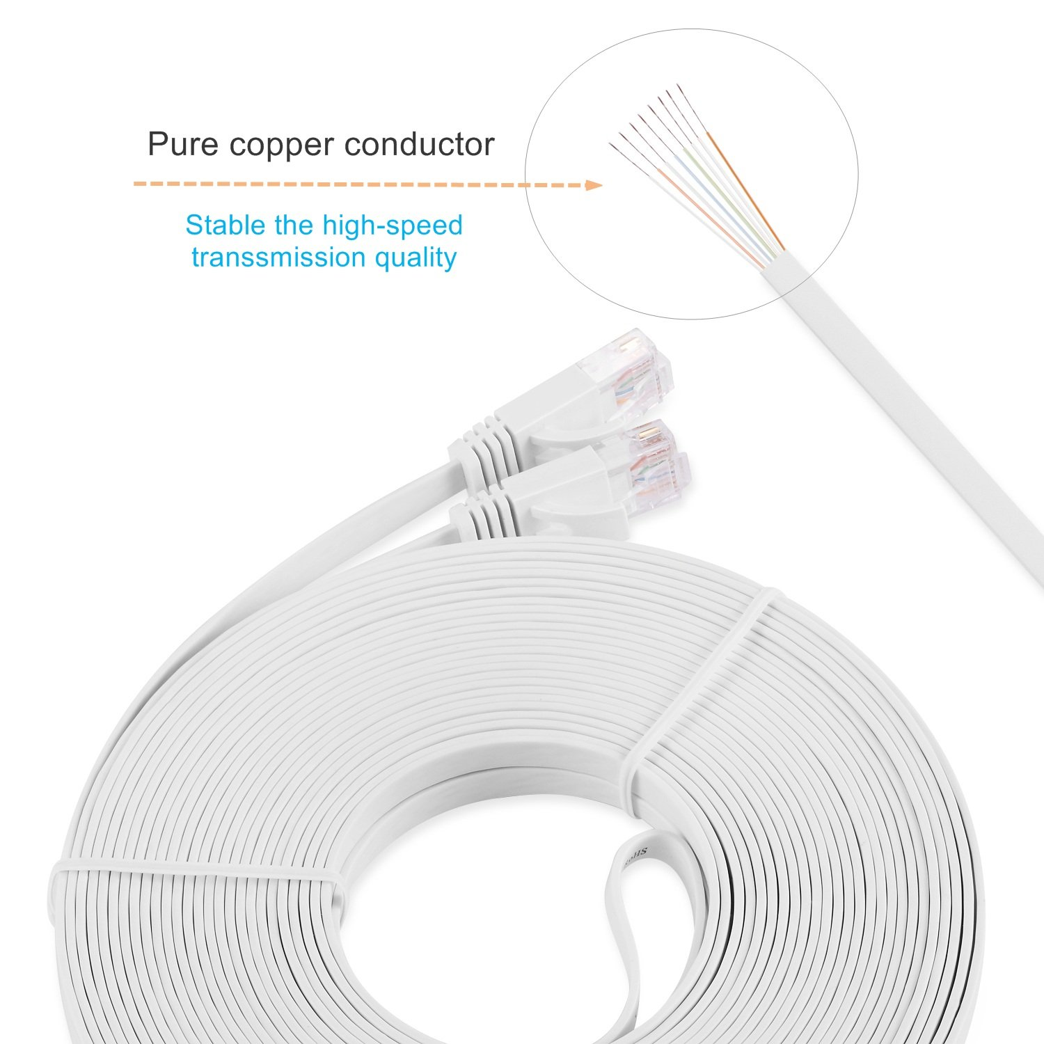 Cat6 Ethernet Cable 50 Ft High Speed White With Free Network Cables Cat5e Black Flat Patch 32 Awg Foot Clips Ikerall Rj45 Internet Wire Feet15