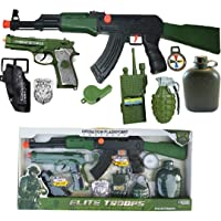 Indusbay Complete Army Role Play Toy Set with 9 Piece Special Force Military Toys - AK-47Combat Gun, Pistol & Cover, Bomb , Bottle , Phone & More Cosplay Fancy Dress for Kids