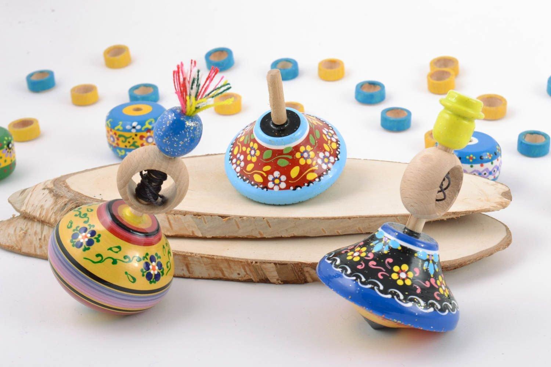 手作りペイント木製Spinning Topsセット3ピース教育子供のおもちゃ B010XWCUDE