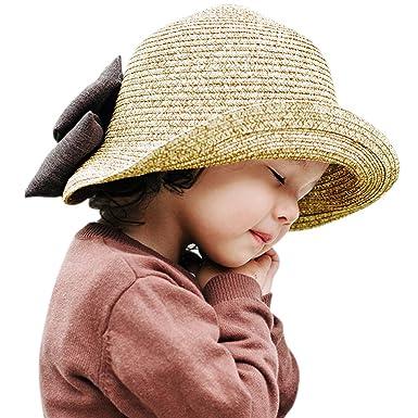 CHIC-CHIC Kids Children Baby Girls Summer Beach Princess Straw Hat Wide  Brim Bowknot Adjustable 945cf180b8f0