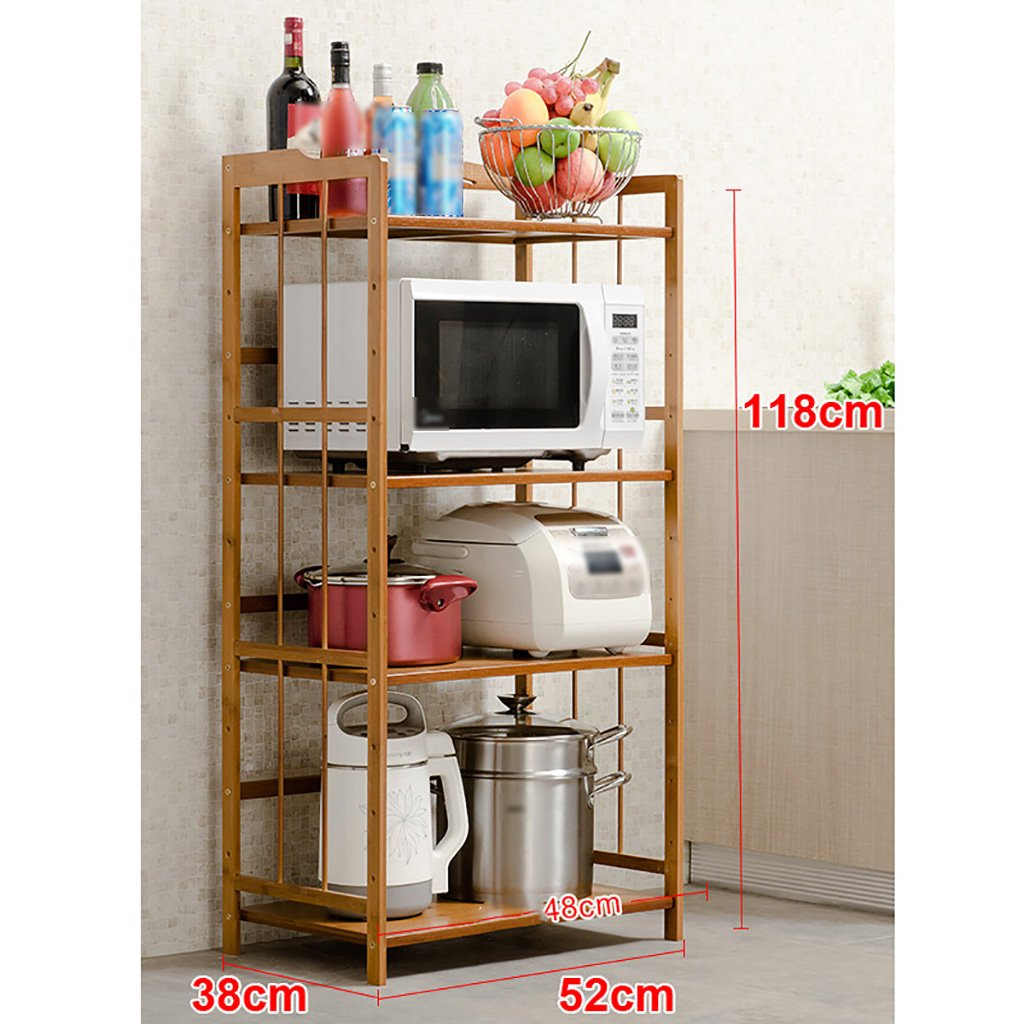 LXLA- 3,4-Tier Kitchen Shelf Storage Pot Rack Microwave Oven Utensils Frame Floor-Standing Multilayer Wood 52/60/70/80×80/118×38cm (Color : 3 Layers, Size : 52CM)