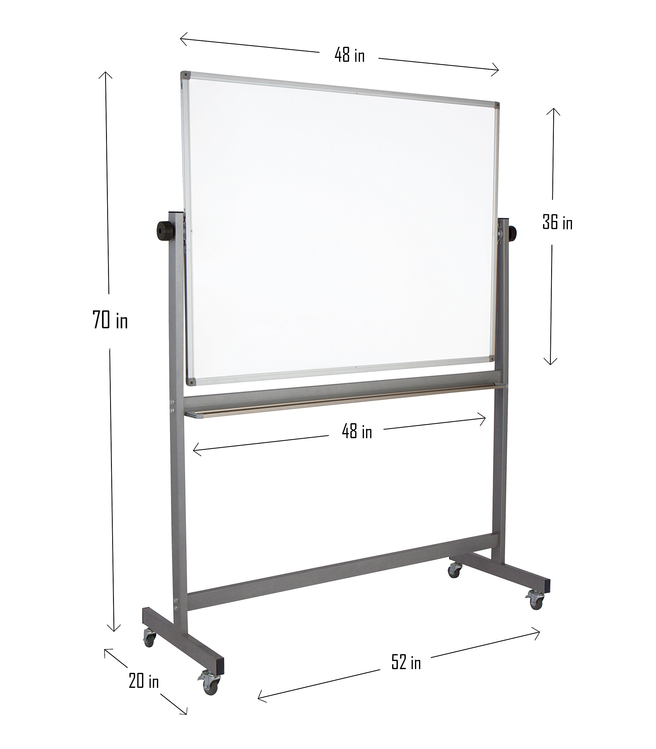 "Magnetic Mobile Whiteboard Large On Stand Double Sided Flip Over Dry Erase Reversible Portable Home Office Classroom Board 36 x 48"" Inch with 4 Markers 12 Magnets Eraser and Ruler Easel Aluminum Frame by Dapper Display (Image #2)"
