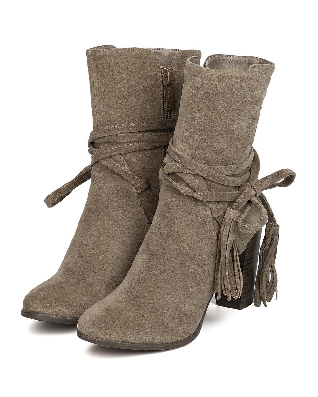 Breckelle's GA27 Women Faux Suede Wraparound Tassel Chunky Heel Bootie - Beige (Size: 7.0) by Breckelle's (Image #5)