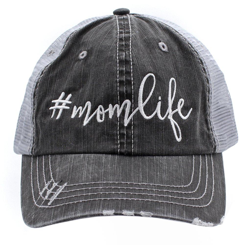 Mom Life Embroidered Trucker Style baseball Cap Hat (White/Emb)