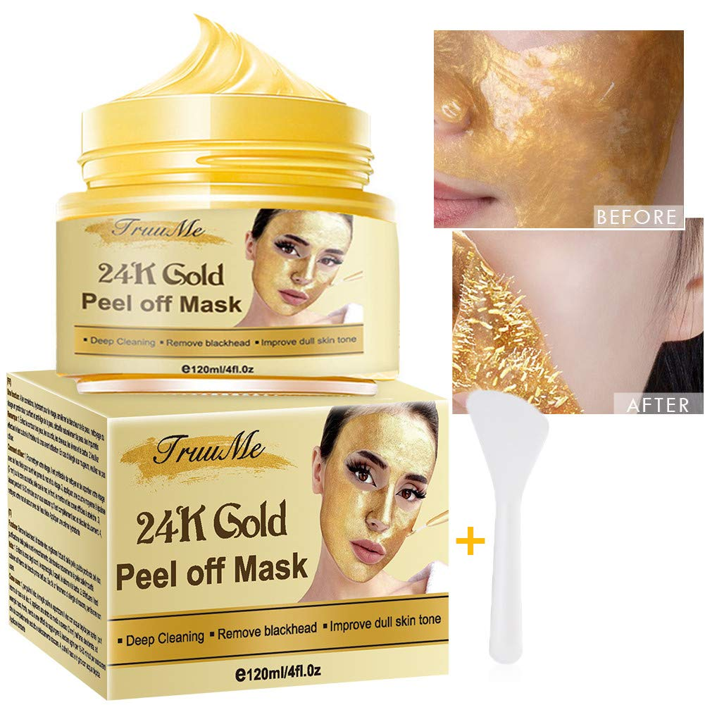 24k Gold Face Mask, Blackhead Remover Mask, Peel Off Blackhead Mask, Deep Cleansing Facial Mask Pore Shrinking, Anti Acne & Oil Control Soothing & Moisture Skin