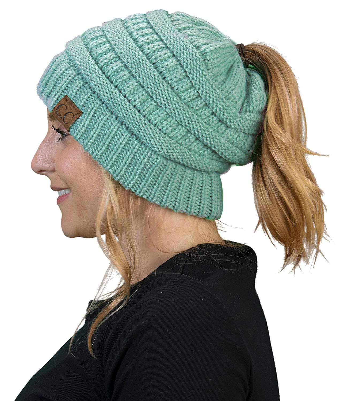 5d169cef8faa BT-6020a-54 Messy Bun Womens Winter Knit Hat Beanie Tail - Mint