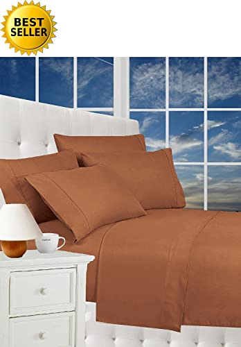 #1 Rated Best Seller Luxurious Bed Sheets Set on Amazon! Celine Linen® 1800 Thread Count Egyptian Quality Wrinkle Free 4-Piece Sheet Set with Deep Pockets, California King, Mocha Chocolate