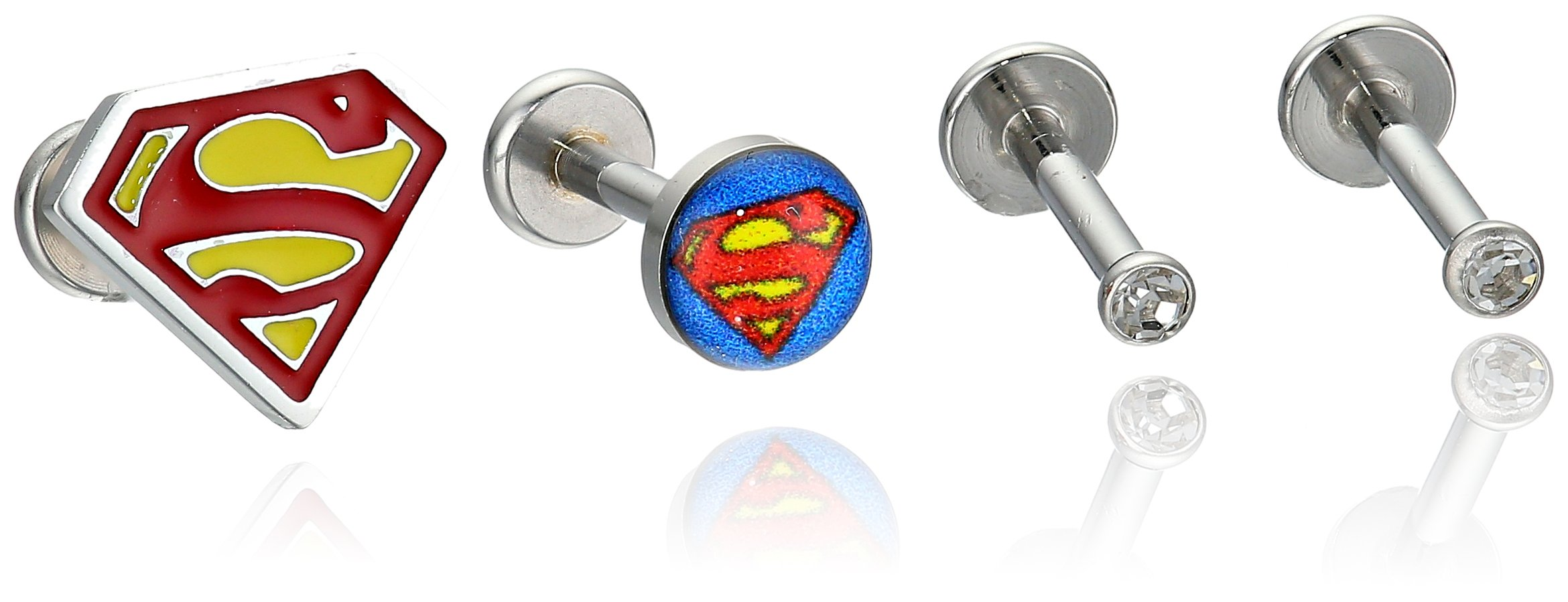 DC Comics Unisex Superman Stainless Steel Gem Top Labret Stud-16 Gauge (5 Piece Set)