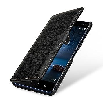 sale retailer 9a75f d6903 StilGut Nokia 8 Case, Genuine Leather Book Type Folio Flip Cover for Nokia  8, Black with Clasp