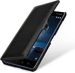 StilGut Housse pour Nokia 8 Book Type en Cuir véritable à Ouverture latérale avec Fermeture clipsée, Noir avec Clip