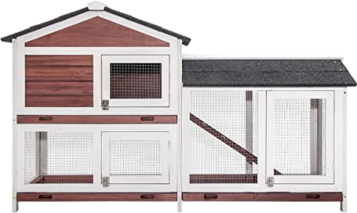 Purlove Pet Rabbit Bunny Wood House Hutch Small Animal Cage with Tray and Small Platform, Auburn and White(Rabbit Hutch #3)