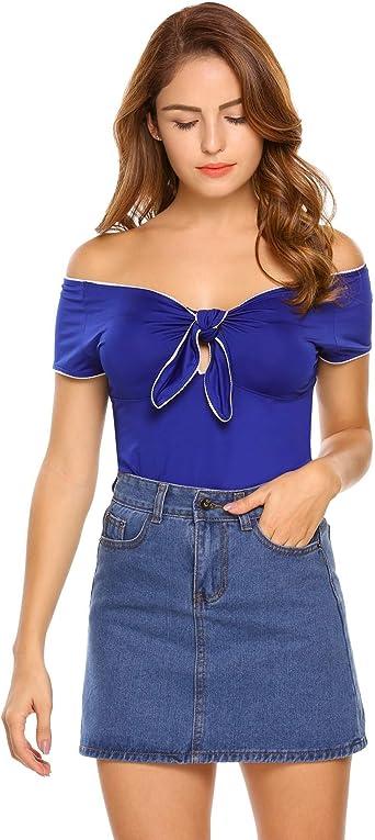 Kulzer Camiseta Sin Hombros Mujer con Lazo Bowknot Camisas Manga Corta Verano Camiseta Corta Mujer