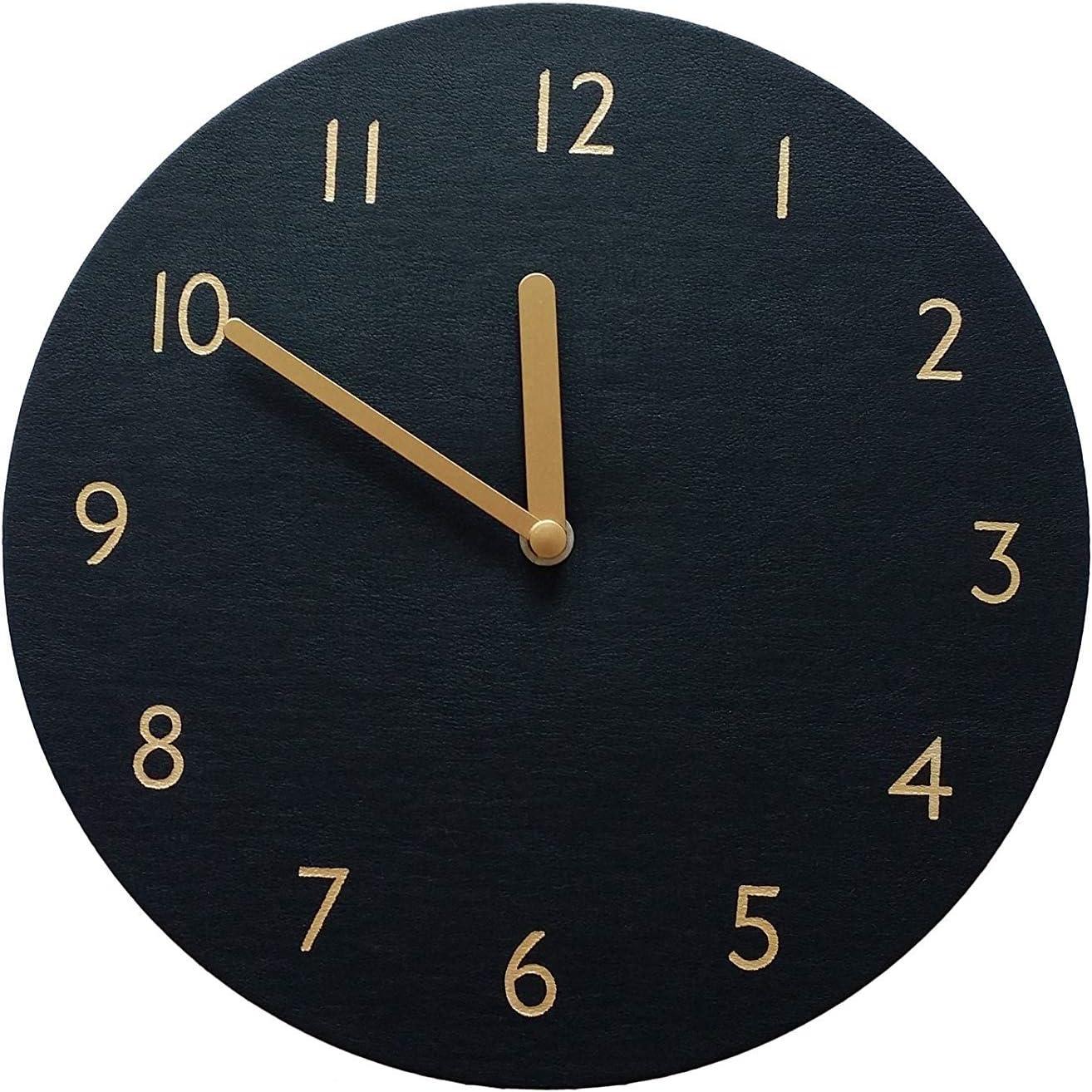 "thehaki Decorative Wall Clock Silent & Non-Ticking Quartz Clock PU Leather Lightweight 0.4lb Round 9"" (Black)"