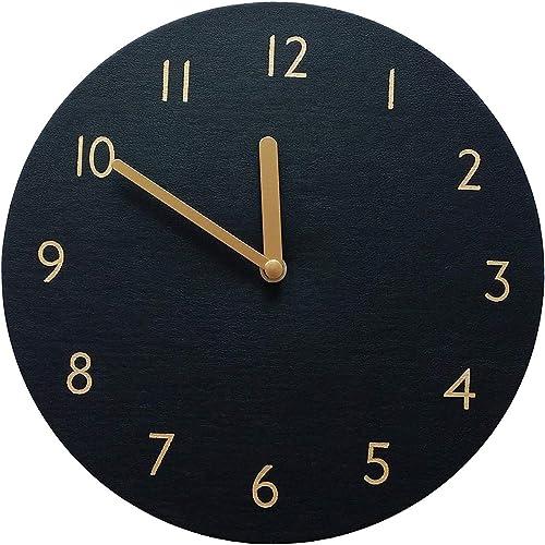 thehaki Decorative Wall Clock Silent Non-Ticking Quartz Clock PU Leather Lightweight Round 11 Black
