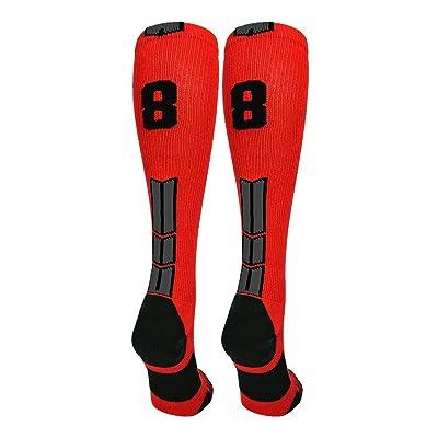 MadSportsStuff Red/Black Player Id Custom Over The Calf Number Socks (Pair)