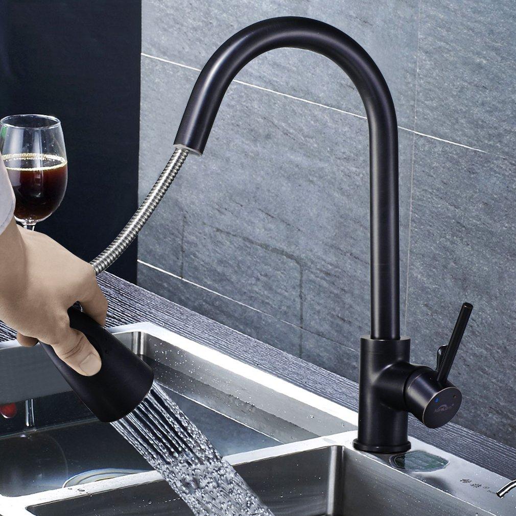 Grifer/ía Monomando de Dise/ño para Lavabo Auralum Grifo Mezclador de Cocina Negro Extensible 360/° de Rotaci/ón para Cocina