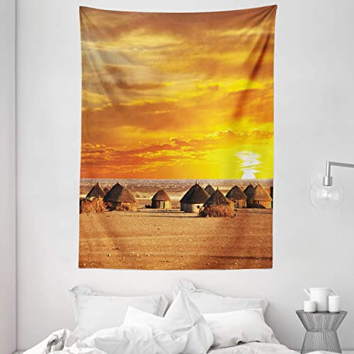 Ambesonne African Tapestry, Landscape of a Small Town with Horizon Skyline at Dawn Ethiopian Photography, Wall Hanging for Bedroom Living Room Dorm, 60 X 80 , Orange