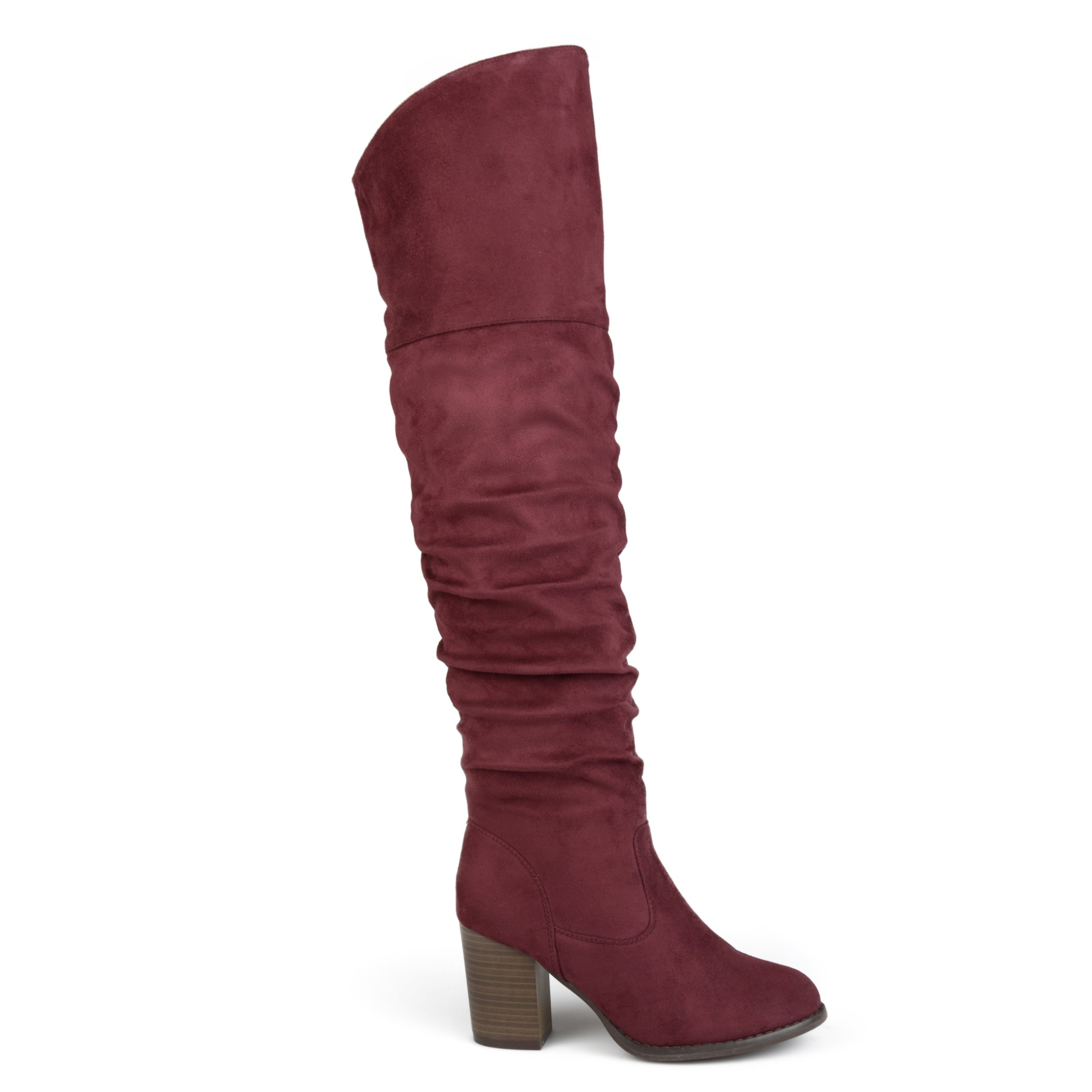 Brinley Co Womens Regular Wide Calf and Extra Wide Calf Ruched Stacked Heel Faux Suede Over-The-Knee Boots Wine, 7 Extra Wide Calf US