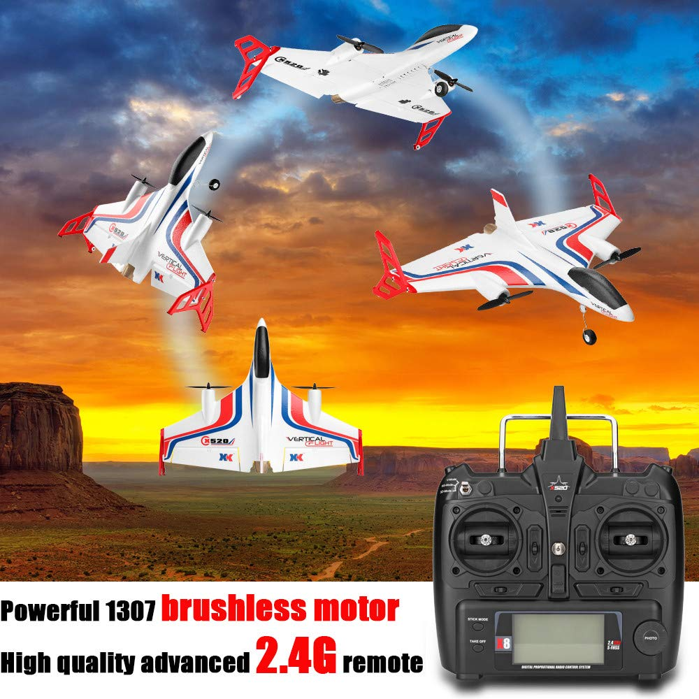 WLTOYS XK X520 2.4G 6CH 3D/6G Airplane Vertical Takeoff Delta Wing RC Glider Built in 720P Wifi HD Camera,Starwak Remote Control Aeroplane Equipped with 2pcs Powerful 1307 Brushless Motor for Beginner by Starwak