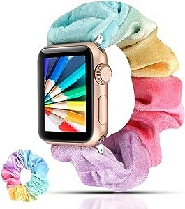 YOSWAN Velvet Scrunchies Hair Band Compatible with Apple Watch 38mm 40mm Women Girls, Elastics Hair Wristbands for iWatch Series 1 2 3 4 (QN1 Rainbow, 38mm/40mm)