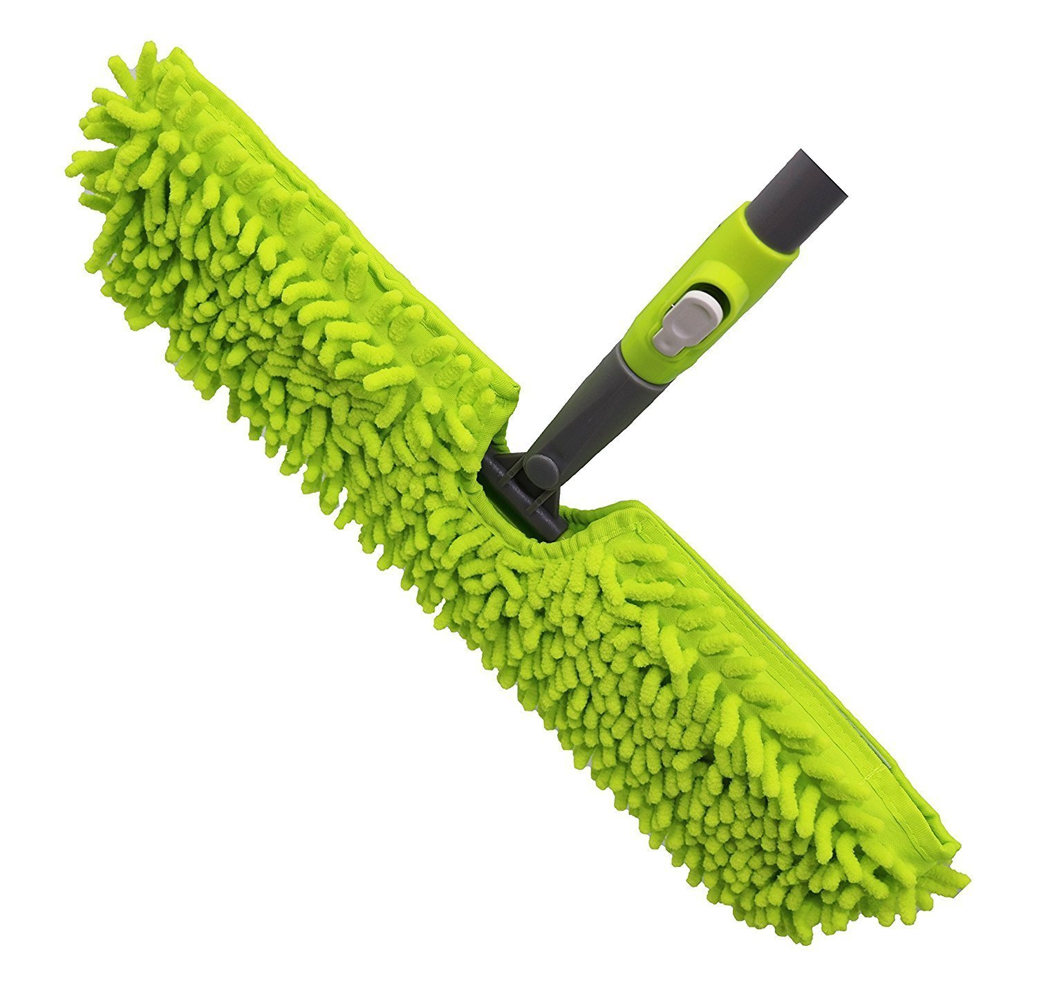 Microfiber Floor Mop-Duster | Dual Side Action Wet 'N Dry | Dusts and Mops | Telescopic and Flexible Pole Adjusts to 66.5'' High | by Homiom (Mop)