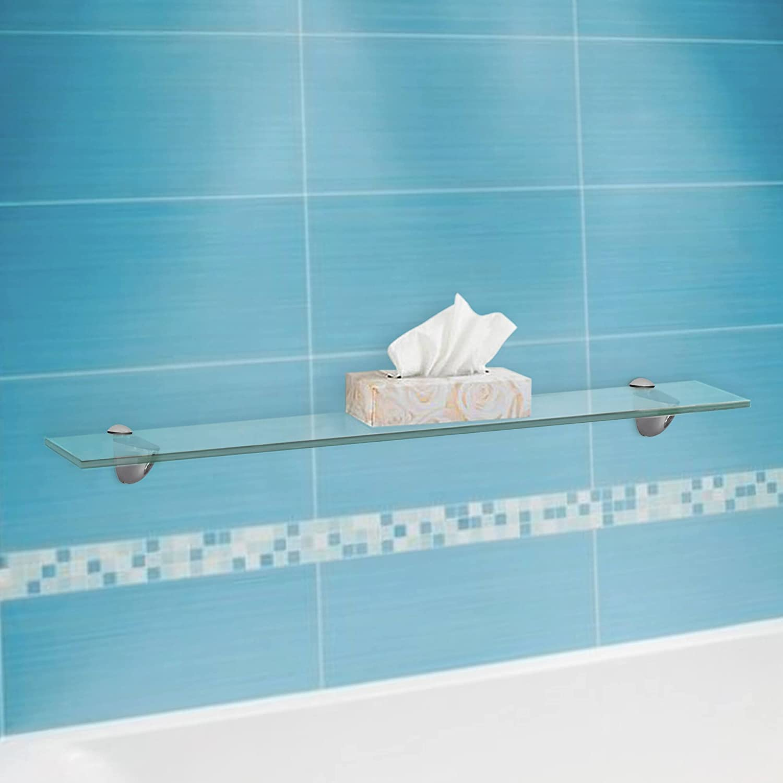 Amazon.com: Fab Glass and Mirror Rectangle Floating Glass Shelf Kit ...