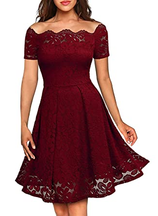 31829042c263c Women Scalloped Off Shoulder Lace Dress Short Sleeves Flared Swing Dresses  Red S