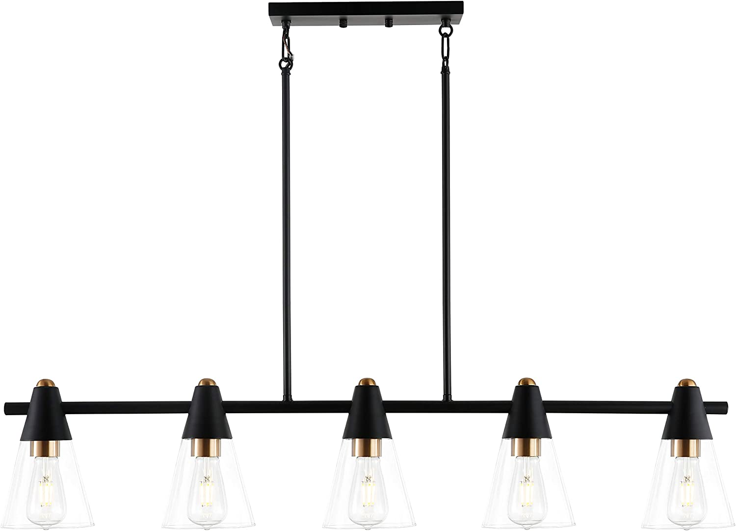 Contemporary Mid Century Modern Style Lighting Fixture Light Society Petra 5-Light Island Light Clear Glass with Black and Brass Finish