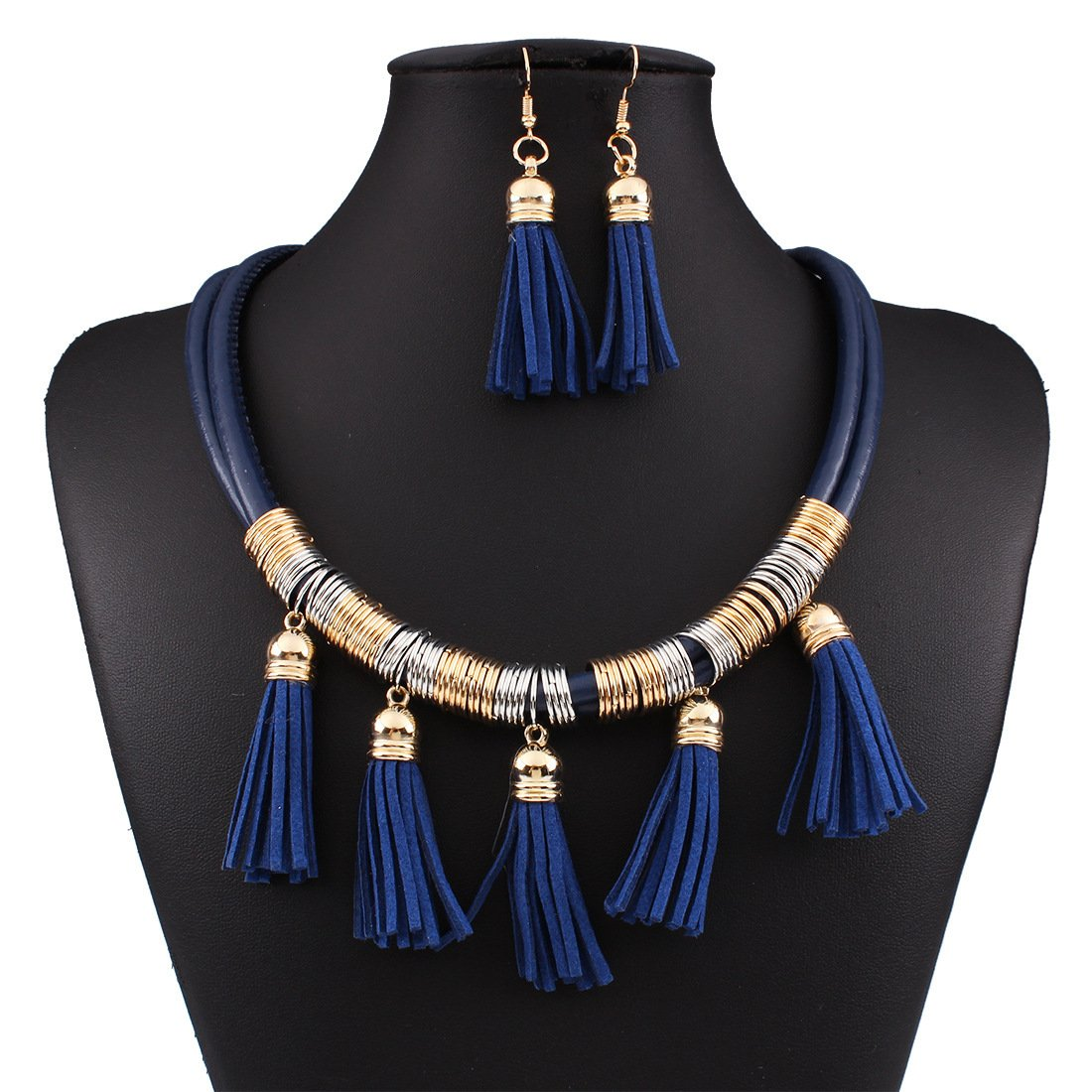 Kissweet Vintage Bohemian Tassel Necklace Earrings Set Multilayer Leather Necklace Fashion Jewelry Set