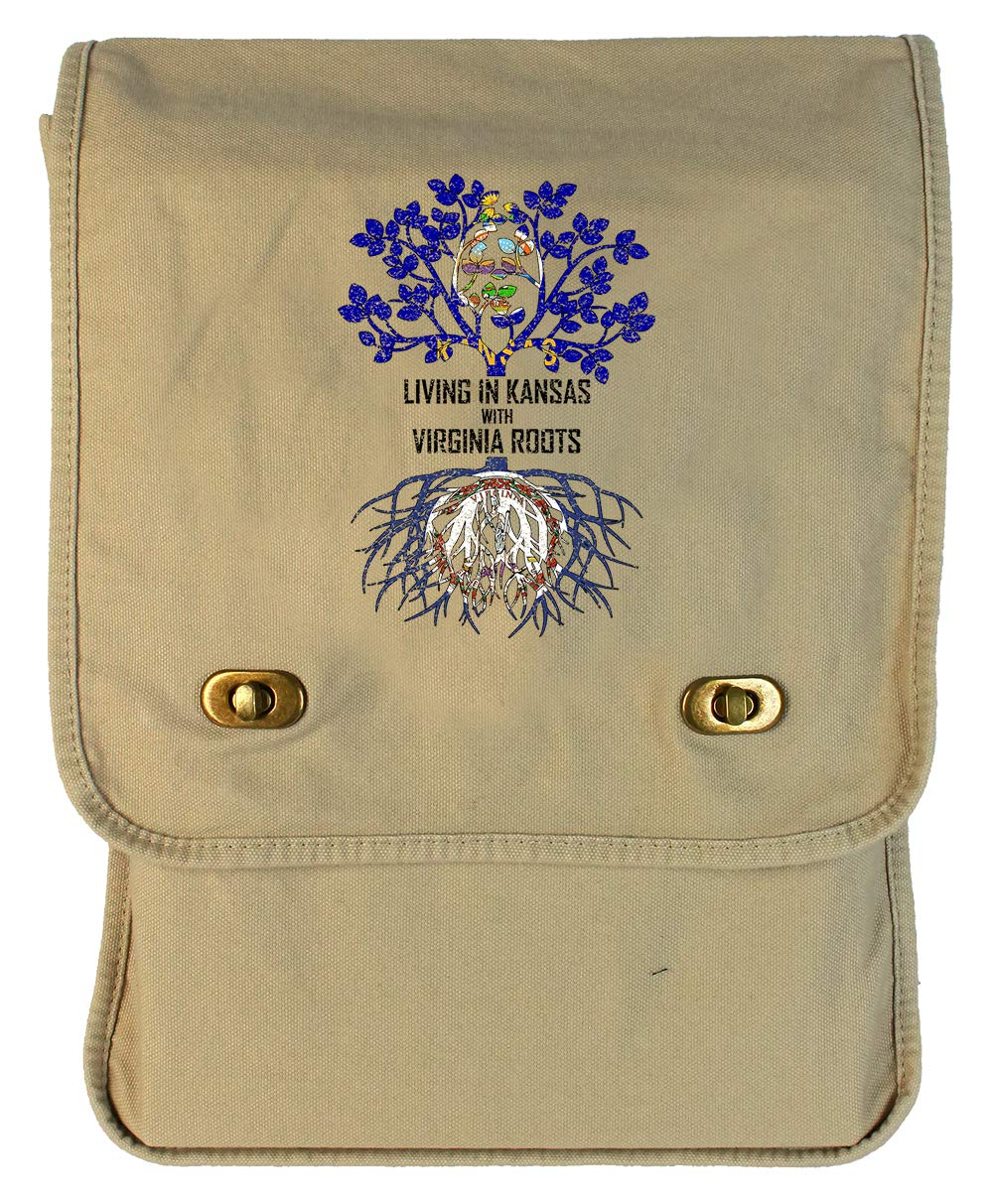 Tenacitee Living In Kansas with Virginia Roots Grey Brushed Canvas Messenger Bag