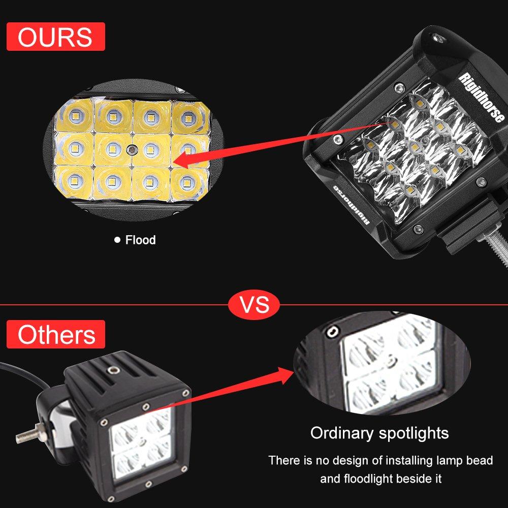 Led Light Pods Rigidhorse 2 Pcs 4 Inch 80w 3 Row Utv Bar Wiring Harness Spot Driving Fog Off Road Work For