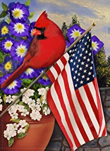 Covido Red Cardinal Summer Fall Garden Flag American Home Decorative House Yard Decor Bird Flower Patriotic Sign, USA Autumn Outside Decoration July 4th Seasonal Outdoor Small Flag Double Sided 12x18