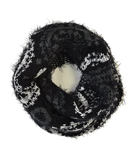 Le Nom Paisley Pattern Hairy Yarn Infinity Scarf Black At Amazon