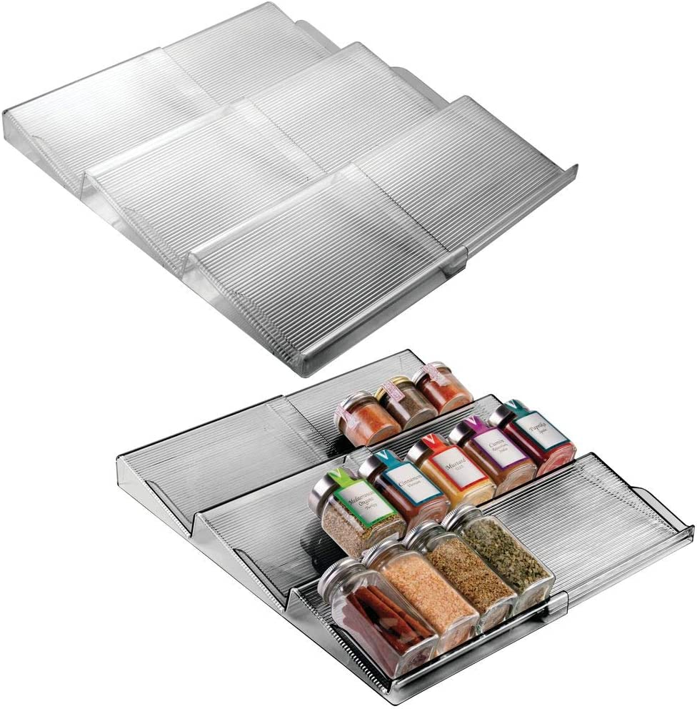 mDesign Adjustable, Expandable Plastic Spice Rack, Drawer Organizer for Kitchen Drawers - 3 Slanted Tiers for Garlic, Salt, Pepper Spice Jars, Seasonings, Vitamins, Supplements - 2 Pack - Smoke Gray