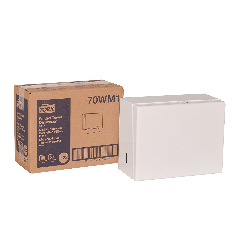 Tork 70WM1 Singlefold Hand Towel Dispenser, White Enamel Painted Steel 9.25