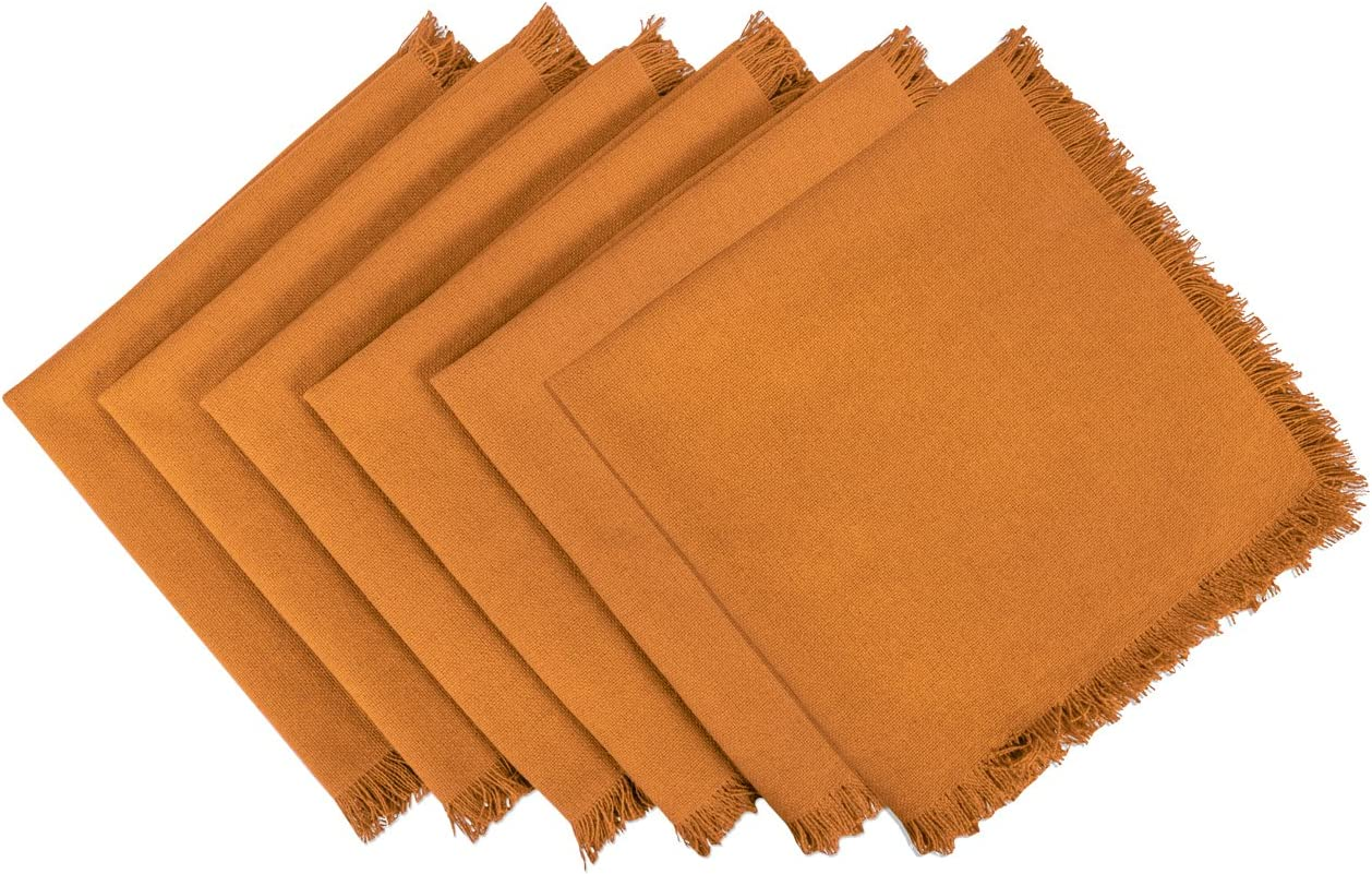 DII CAMZ37568 Heavyweight Fringed NP S/6, Napkin, Solid Pumpkin Spice 6 Count