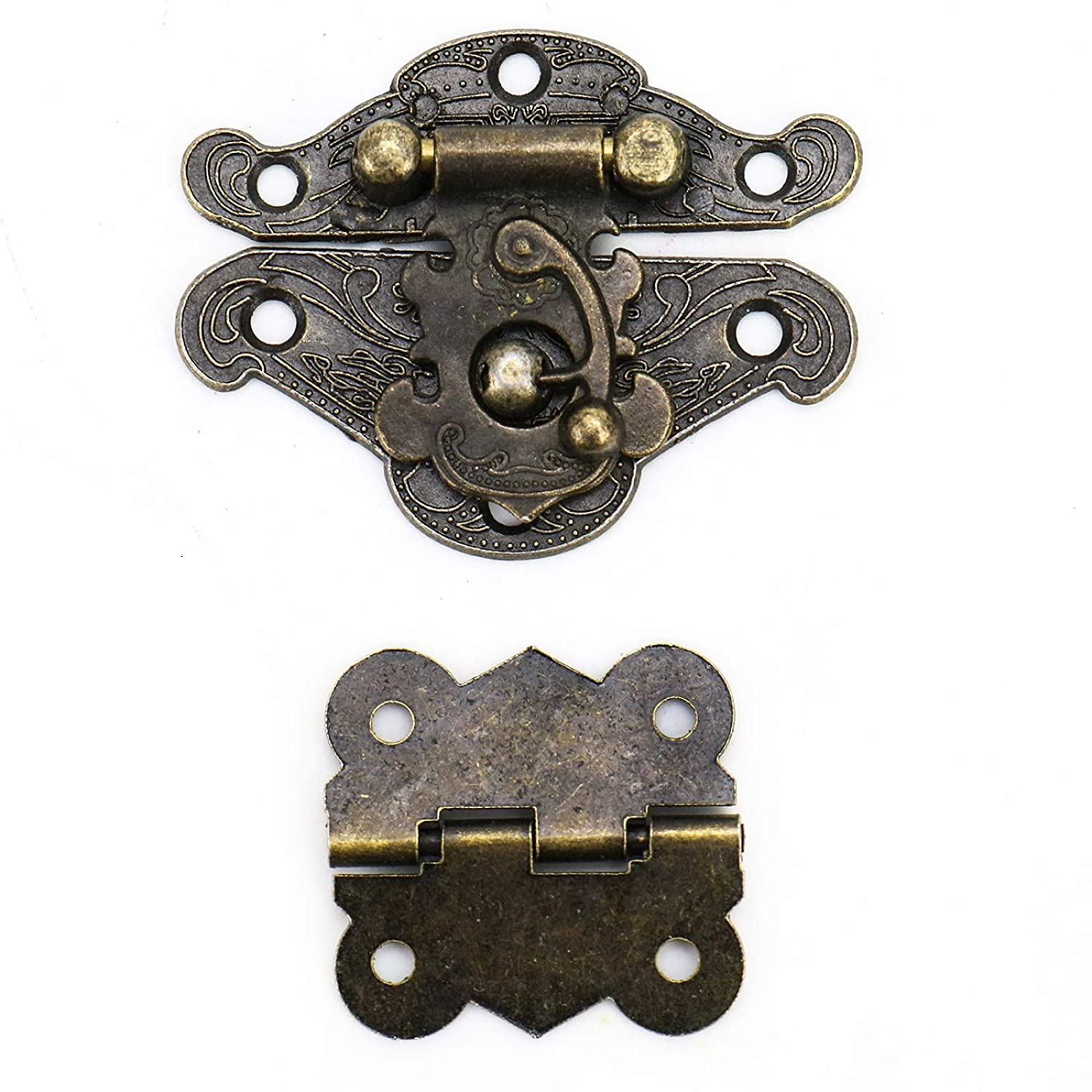WSSROGY 4 Pieces Latch Hasp and 8 Pieces Butterfly Hinge and 100 Screws for European Style Jewelry Trinket Box Decoration
