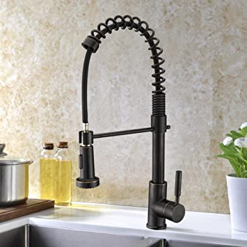 Refin Pull Out Pre Rinse Kitchen Faucet Durable And Sturdy Single Handle Kitchen Sink Faucet Oil Rubbed Bronze Amazon In Home Kitchen