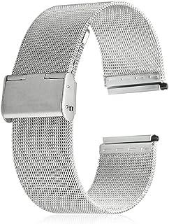 ZhangHongJ,Courroie de Bracelet de Maille d'acier Inoxydable de 18 millimètres remplaçant la Courroie pour Les Hommes et Les Femmes(Color:Argent)