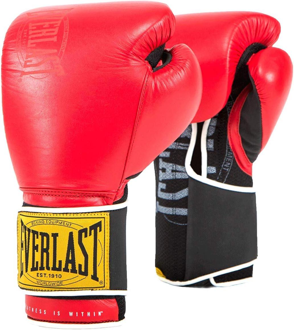 Everlast 1910 Leather Gloves Red 14oz