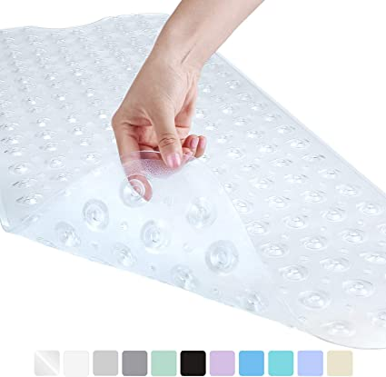"""Long Non-Slip Mildew Resistant Shower Bath Tub Mat with Suction Cups 40/"""" x 16/"""""""