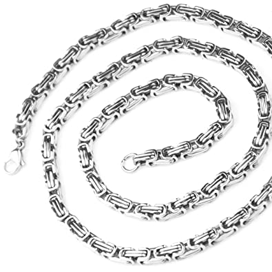 6e5de79cb02 Jewelry Kingdom 1 4mm Impressive Mechanic Style Men Necklace Stainless  Steel Silver Byzantine Chain 16-40