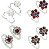PCM- Toe Ring -Multicolour Silver Plated Adjustable Toe Ring For Girl/Women