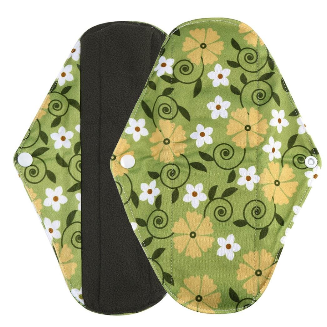 Sikye Cloth Menstrual Pads Reusable Sanitary Pads Overnight Charcoal Bamboo Panty Liners for Comfort and Support- 4 Colors and 3 Size (green 2, l)