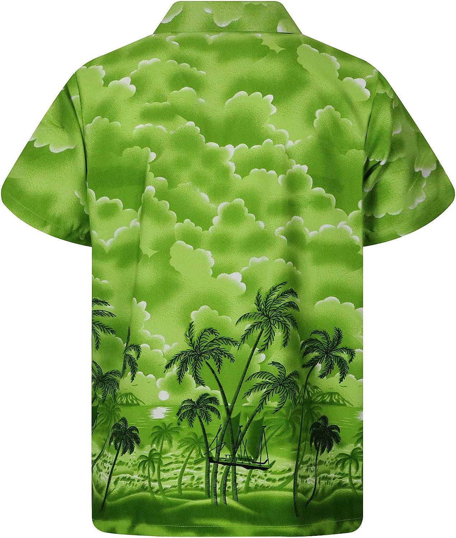 green Funky Hawaiian Shirt Dusty Beach 5XL